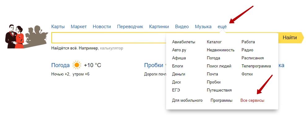 все сервисы Яндекс