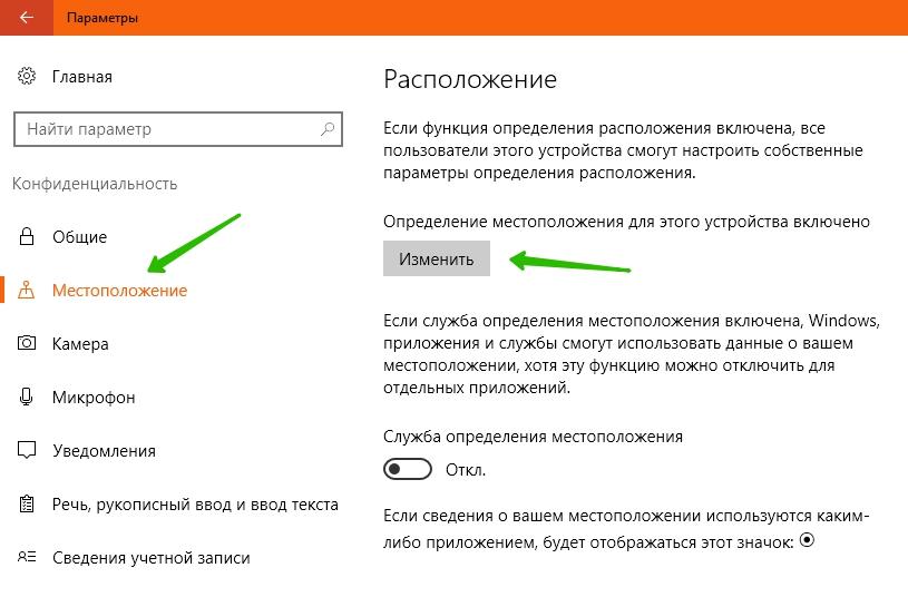 местоположение слежение Windows 10