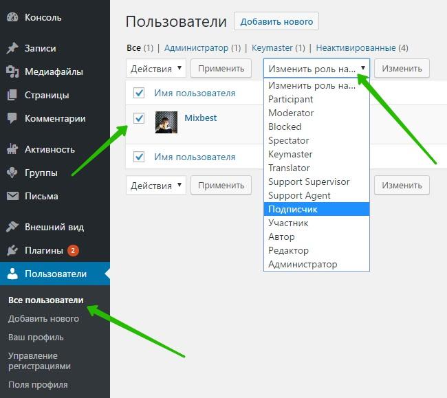 пользователи WordPress