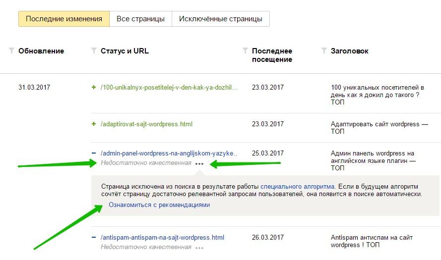страницы в поиске Яндекс
