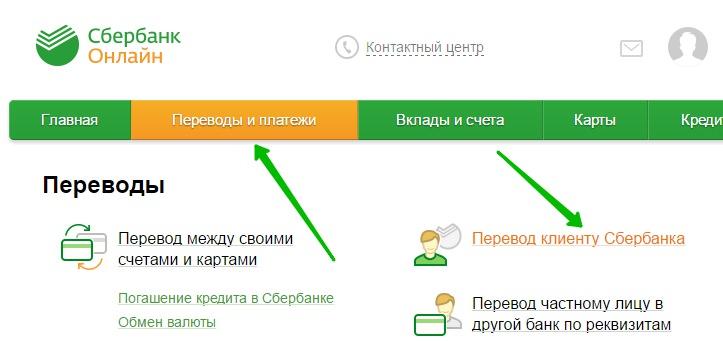 переводы и платежи Сбербанк
