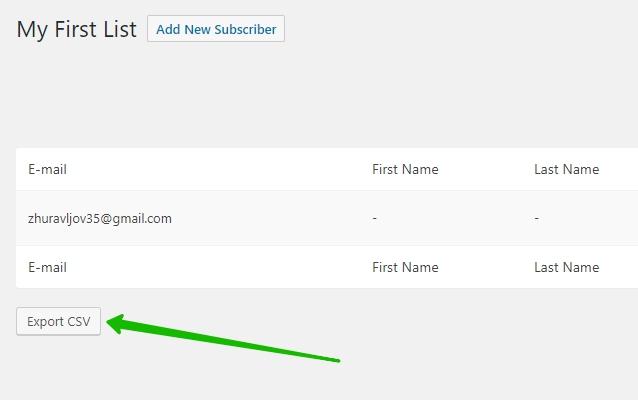 экспортировать email список в CSV формате