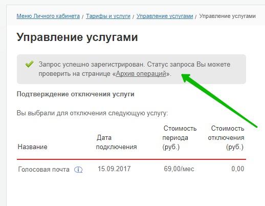 уведомление услуга отключена мтс