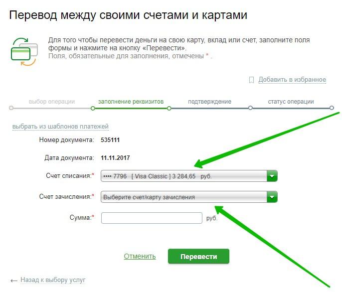 перевод денег Сбербанк