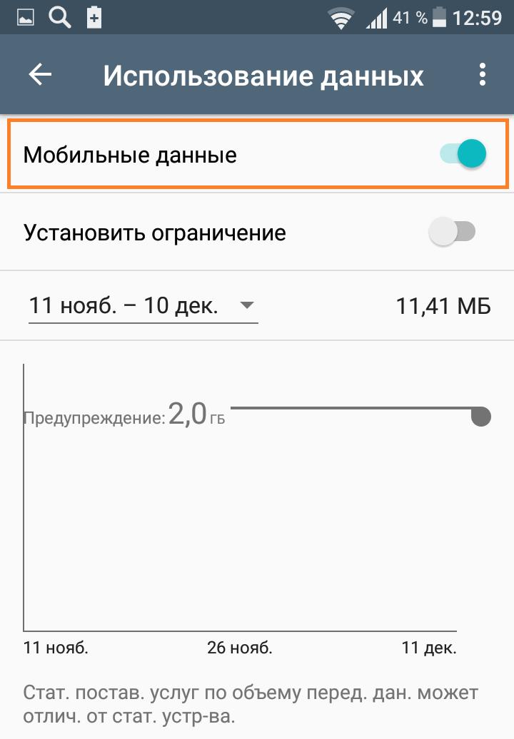 мобильные данные андроид