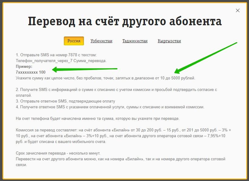 смс перевод телефон мтс билайн