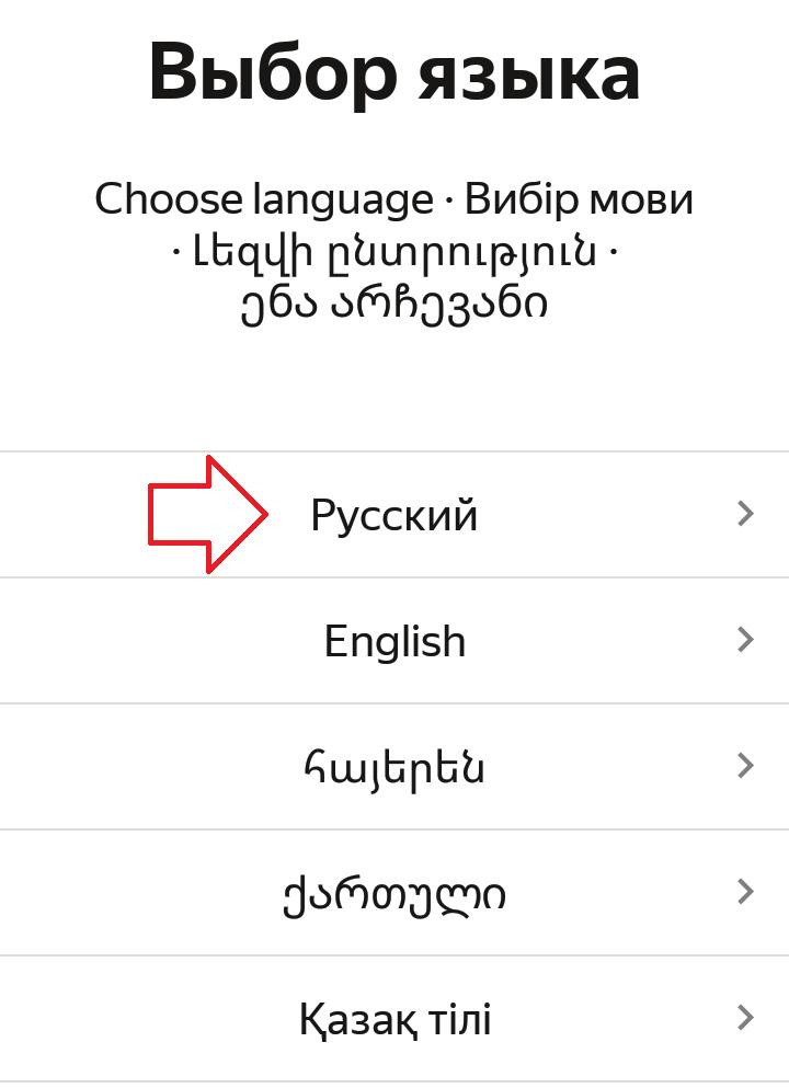 язык приложения Русский