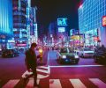 город улица ночь огни фонари