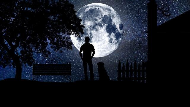 звёзды небо луна ночь полнолуние