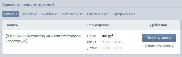 заявка реклама цена вконтакте