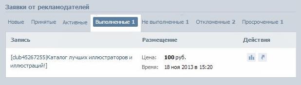 рекламная заявка вконтакте