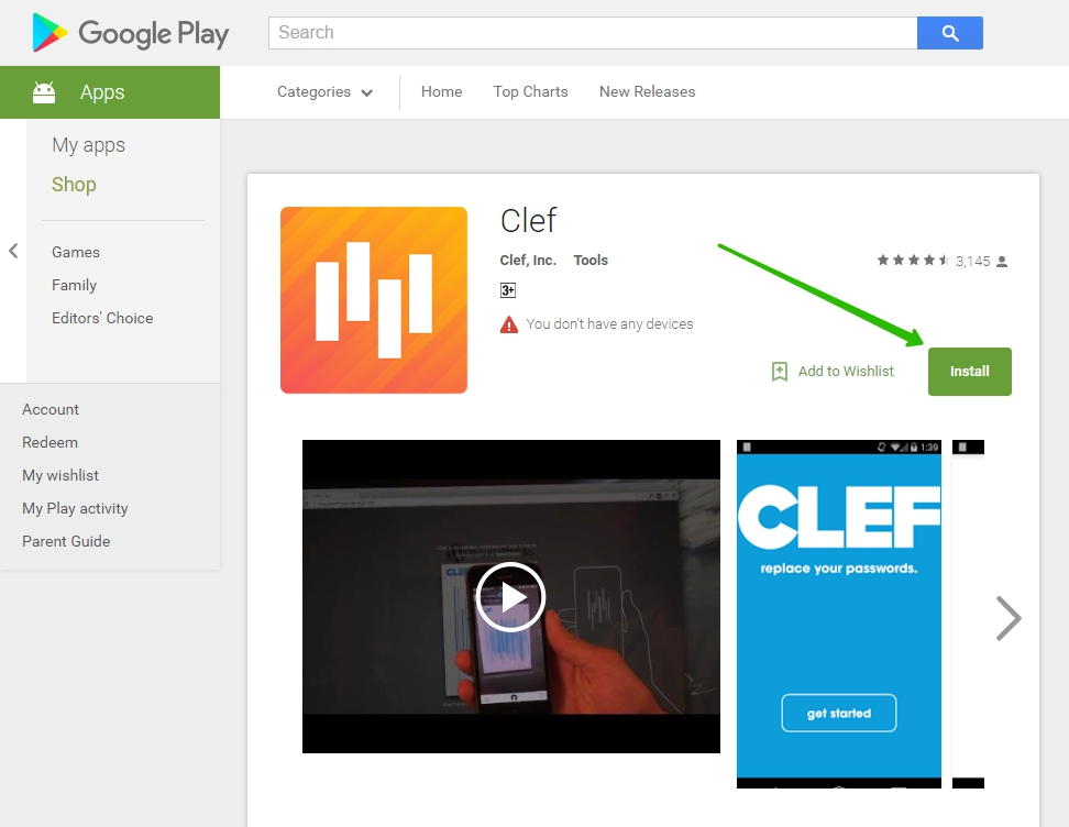 Clef Google Play