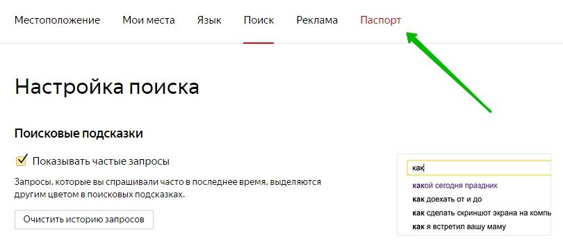 паспорт Яндекс