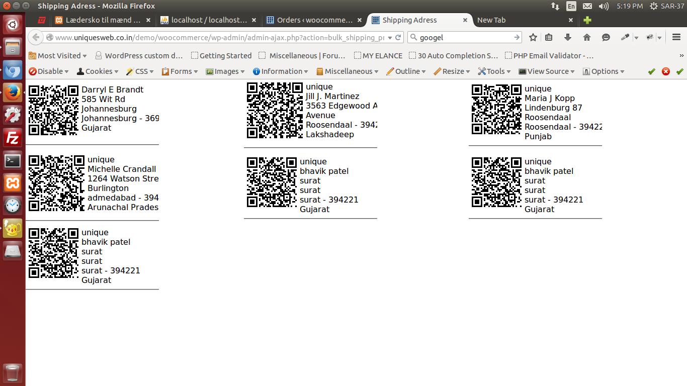 печатать этикетки с адресом доставки и QR кодом