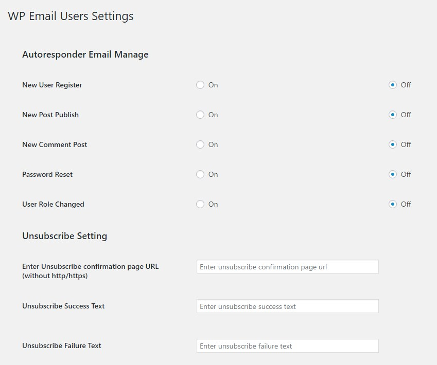 WP Email Users Settings