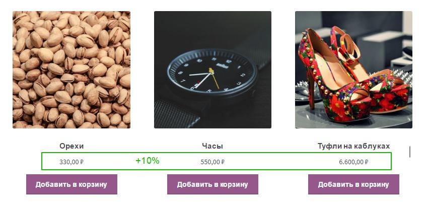 изменить цены в процентах