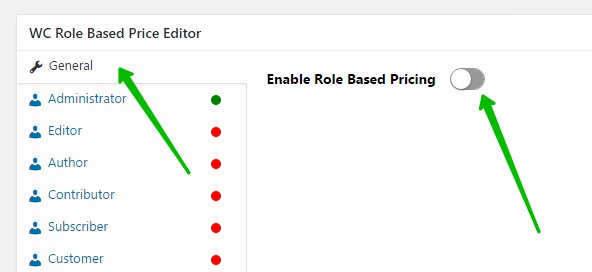 Enable Role Based Pricing