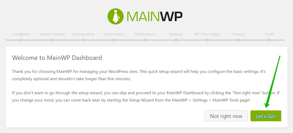 MainWP Dashboard WordPress настройка