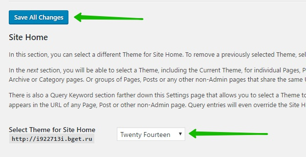 Select Theme for Site Home