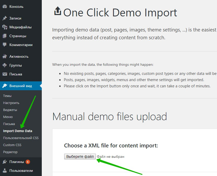 Import Demo Data WordPress
