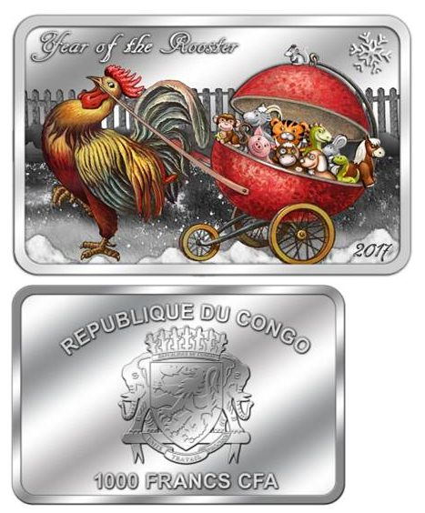 Монета Республики Конго «Петушок с подарками»