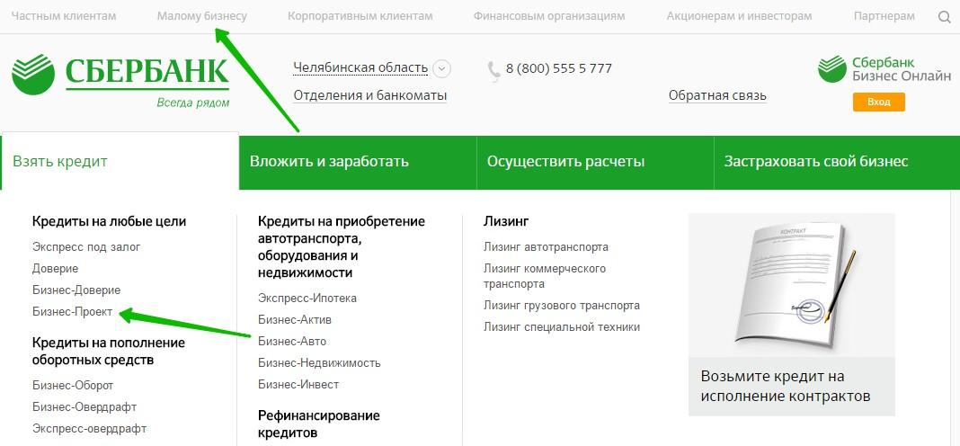 Сбербанк бизнес проект кредит