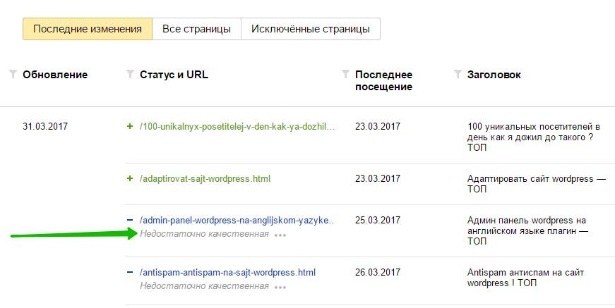 Недостаточно качественная страница Яндекс