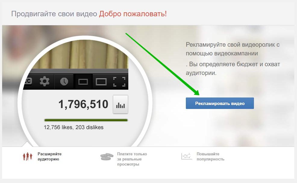 рекламировать видео Ютуб