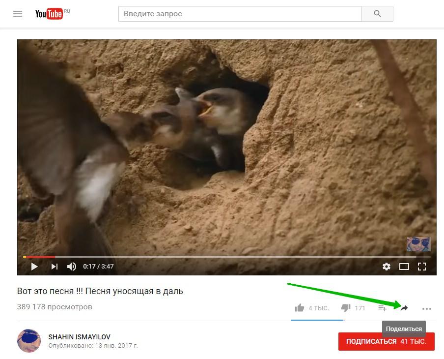 поделиться видео с ютуба