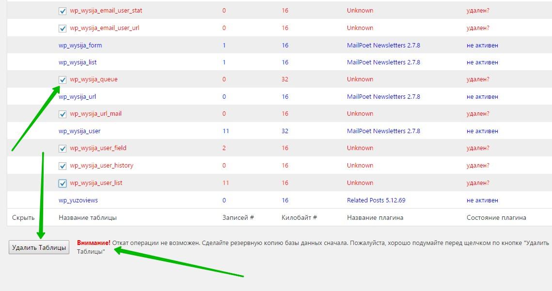 удалить неиспользуемые таблицы базы данных