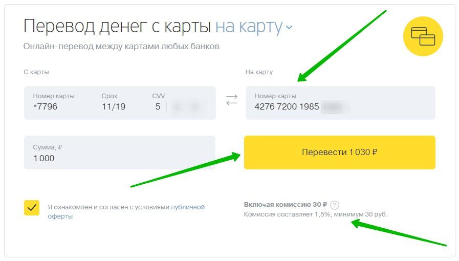 тинькофф банк перевод с карты на карту