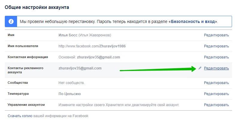 почта фейсбук рекламный аккаунт