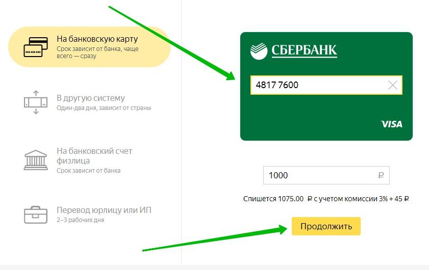 с Яндекс деньги на сбербанк карту