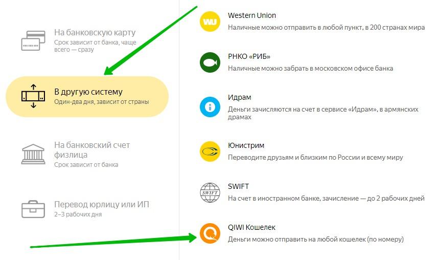 Яндекс деньги киви перевод