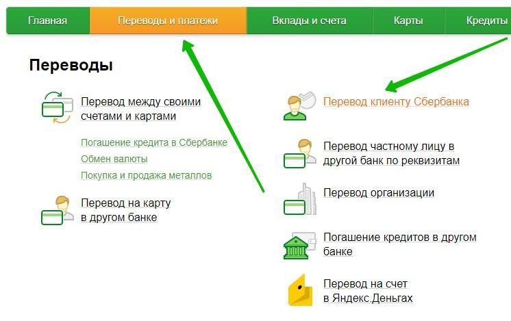 Перевод денег клиенту Сбербанка