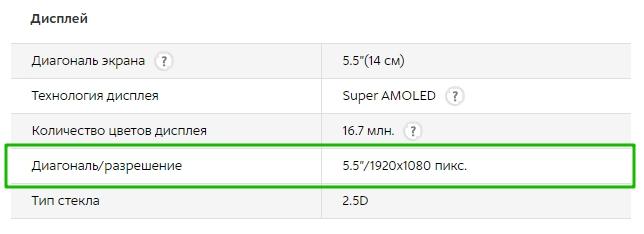 """Диагональ/разрешение 5.5""""/1920х1080 пикс."""