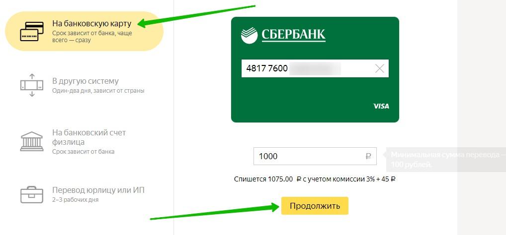 сбербанк яндекс перевод