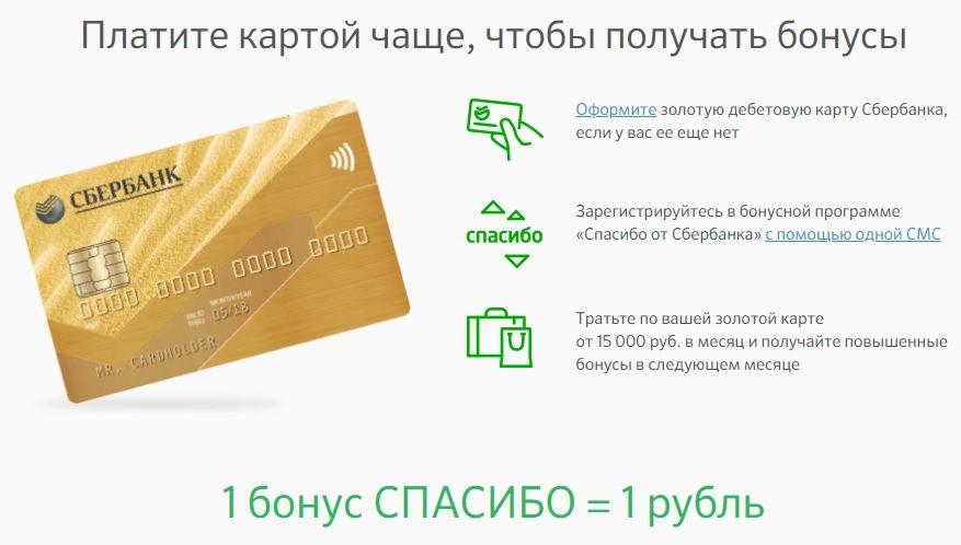 бонусы спасибо сбербанк золотая карта