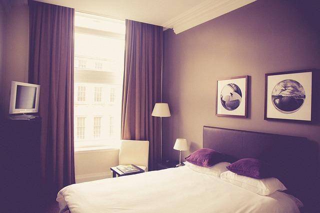 шторы спальня кровать гостиница