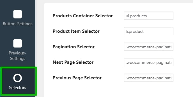 Products Container Selector