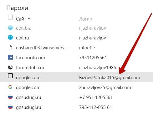 пароль от почты гугл