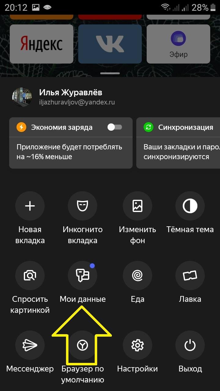 личные данные яндекс браузер андроид
